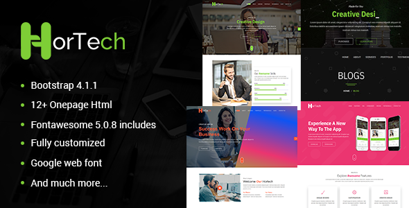 Image of Hortech – One Page  Multiuse Business One Page Template