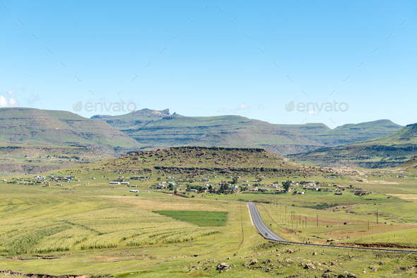 Landscape next to road R65 near Mount Fletcher - Stock Photo - Images