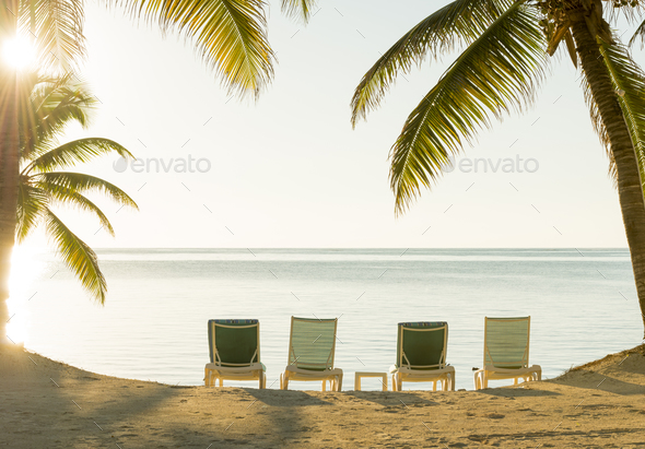 Beach Holiday Deckchairs - Stock Photo - Images