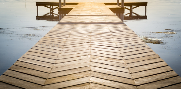 Wooden Dock With Copy Space - Stock Photo - Images