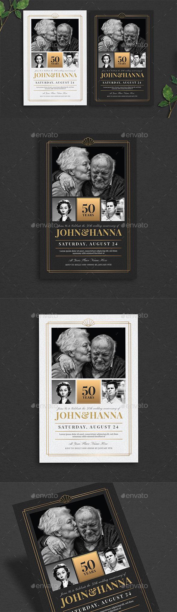 Wedding Anniversary Invitation - Cards & Invites Print Templates
