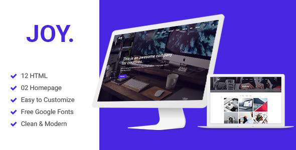 Joy | Creative Agency and One page HTML5 And Sass Template