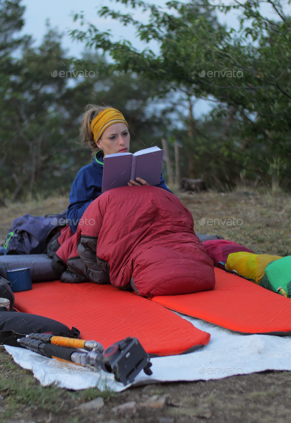 camp book reading - Stock Photo - Images