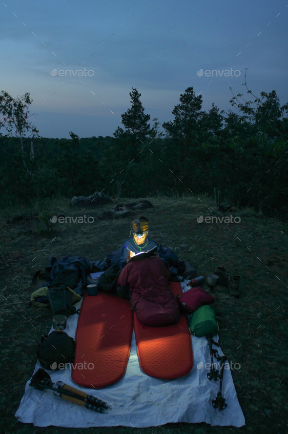 camping writing journal - Stock Photo - Images