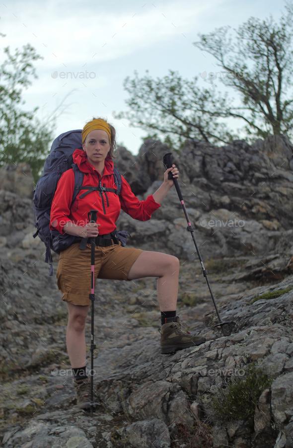 caucasian hiker portrait - Stock Photo - Images