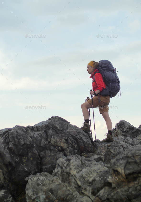 caucasian hiker portrait - Stock Photo - Images