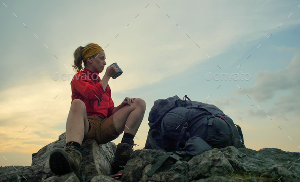 hiker peak mug backpack - Stock Photo - Images