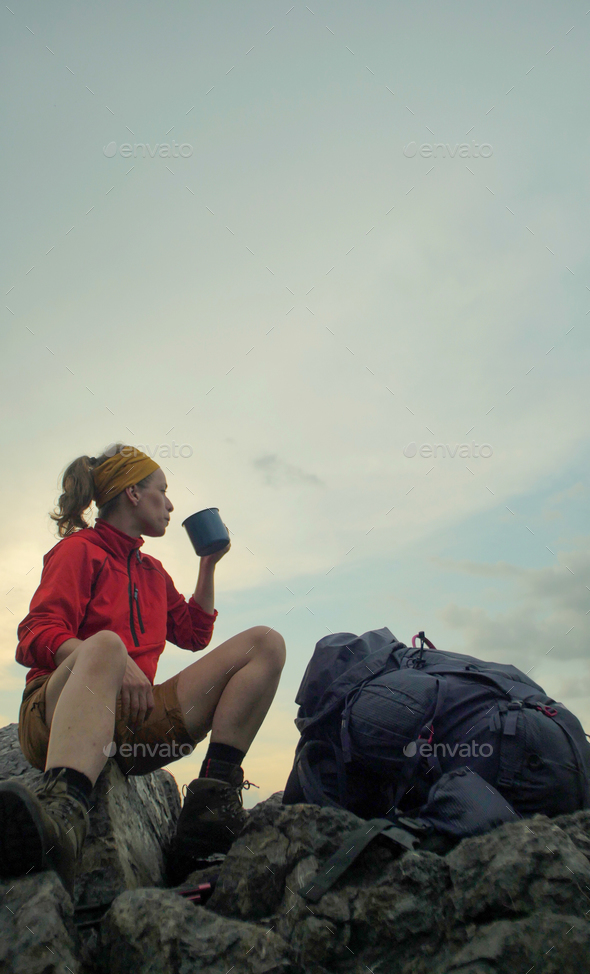 hiker peak mug backpack - Stock Photo - Images