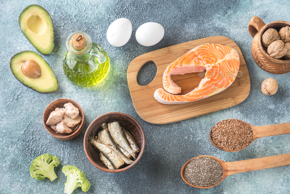 Food with Omega-3 fats - Stock Photo - Images