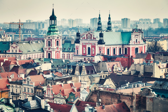 Vintage toned aerial view of Poznan, Poland. - Stock Photo - Images