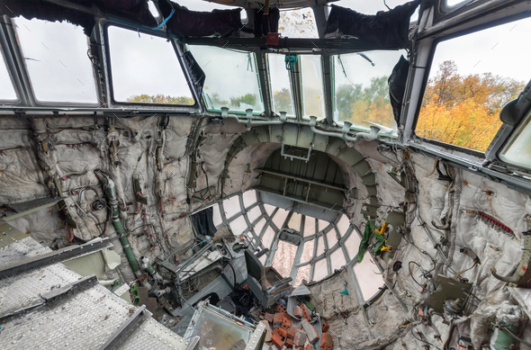 The destroyed cabin of the broken aircraft - Stock Photo - Images