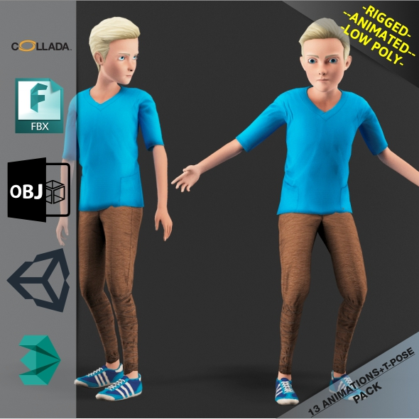 Cartoon boy Motion Pack - 3DOcean Item for Sale