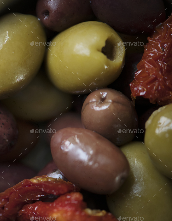 Pickled olives food photography recipe idea - Stock Photo - Images