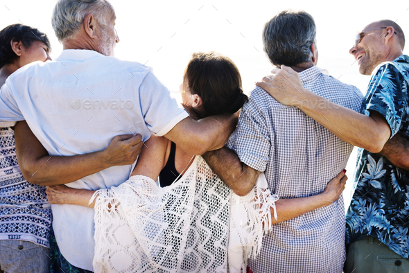 Group of seniors on the beach - Stock Photo - Images