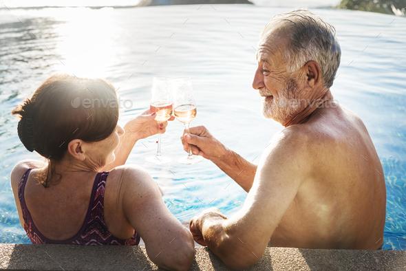 A honeymoon couple enjoying summertime - Stock Photo - Images