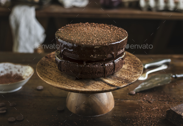 Chocolate cake food photography recipe idea - Stock Photo - Images