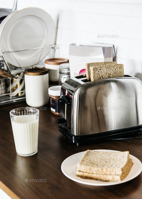 Bread and milk - Stock Photo - Images