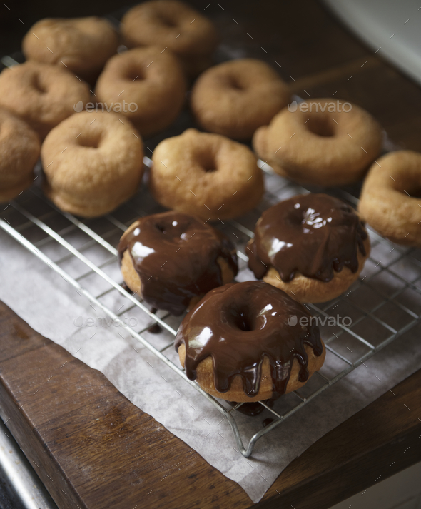 Homemade chocolate doughnuts food photography recipe idea - Stock Photo - Images