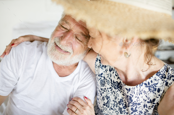 Lovely mature couple on romantic vacation - Stock Photo - Images