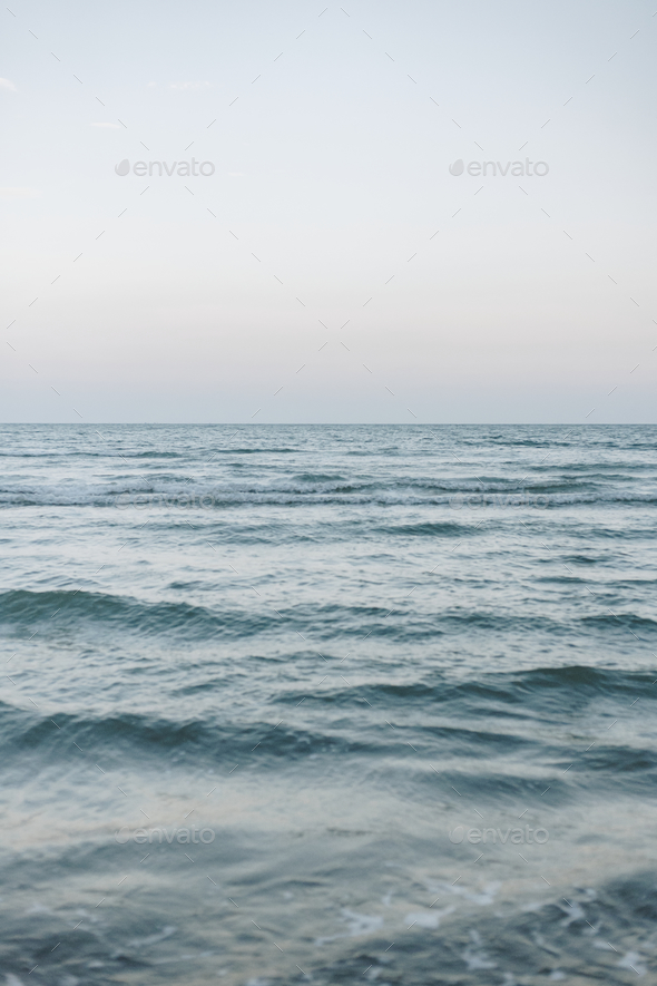 Waves on a wide blue sea - Stock Photo - Images