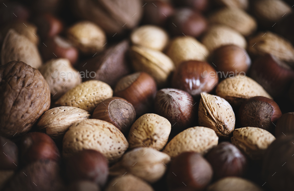 Variety of dried nuts food photography - Stock Photo - Images