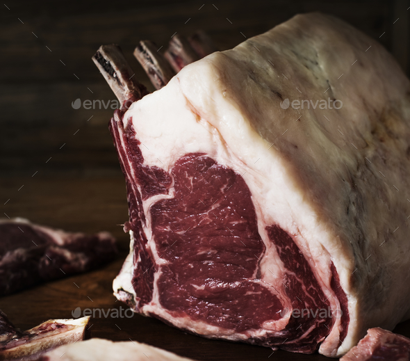 Tomahawk beef steak at a butcher shop - Stock Photo - Images