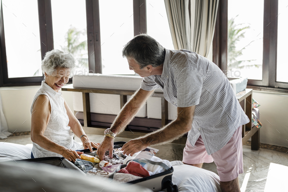 Mature couple vacationing at a resort - Stock Photo - Images