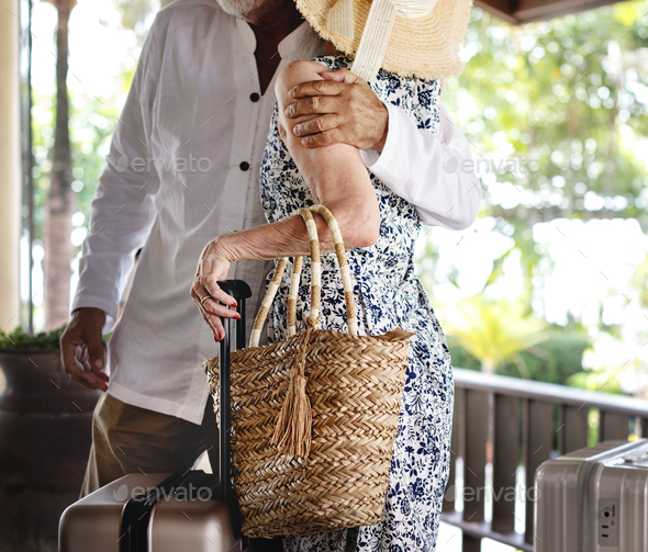 Lovely mature couple at a resort - Stock Photo - Images