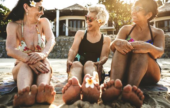 Senior women on the beach - Stock Photo - Images