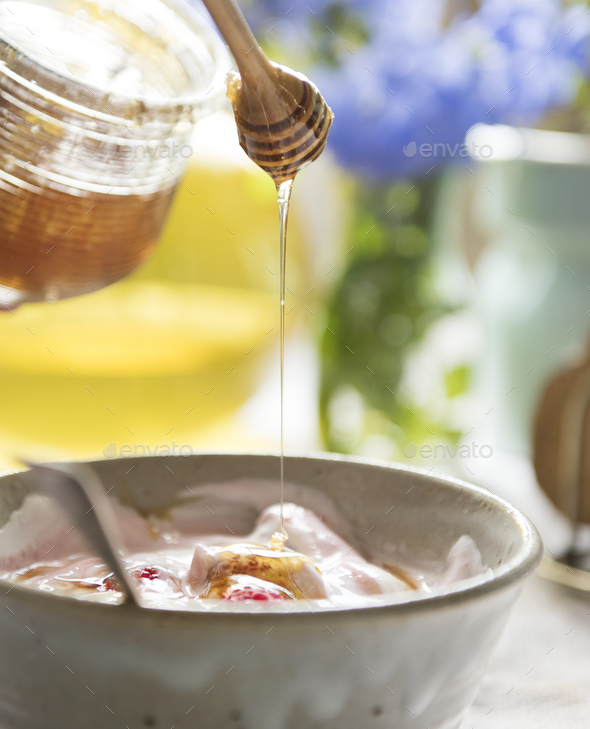 Healthy yogurt food photography recipe idea - Stock Photo - Images