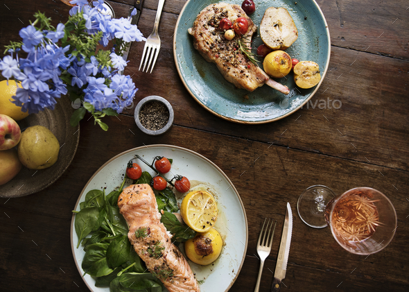Table for two food photography recipe idea - Stock Photo - Images
