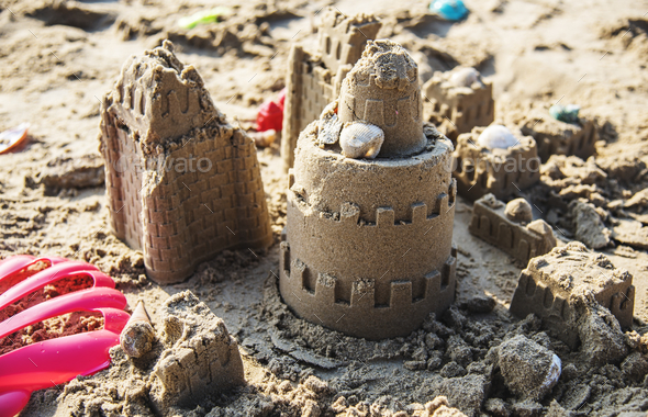 Sandcastle on the beach - Stock Photo - Images