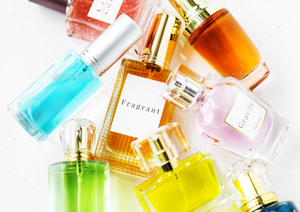 Collection of small perfume bottles - Stock Photo - Images
