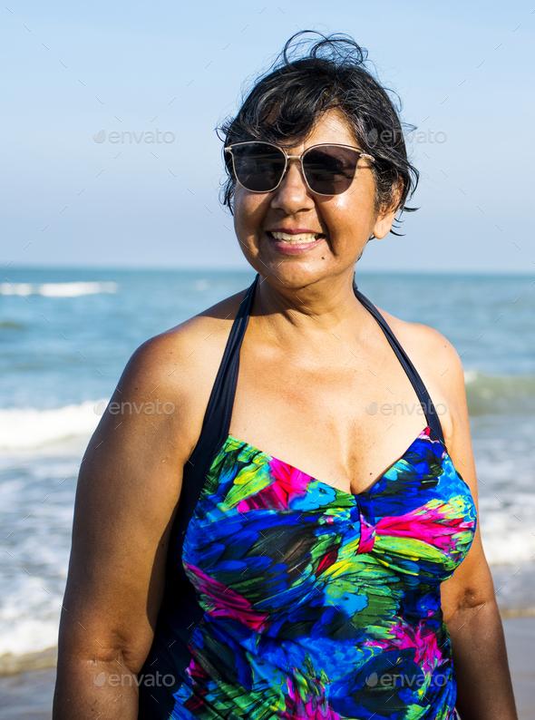 Senior woman on the beach - Stock Photo - Images