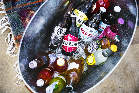Beers in an ice bucket - Stock Photo - Images