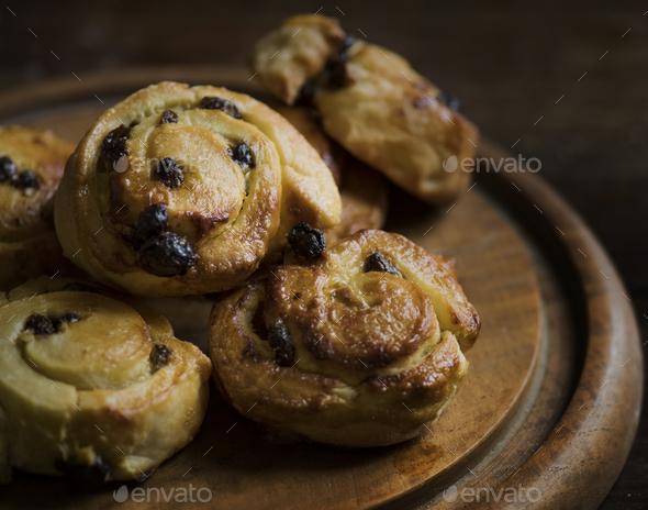 Baked chocolate danish food photography recipe idea - Stock Photo - Images