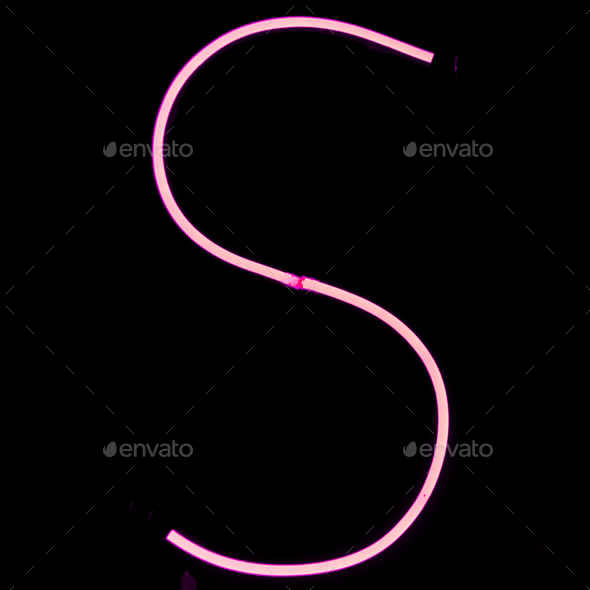 Alphabet pink neon lights on black background - Stock Photo - Images