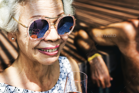 Close up of senior woman smiling - Stock Photo - Images