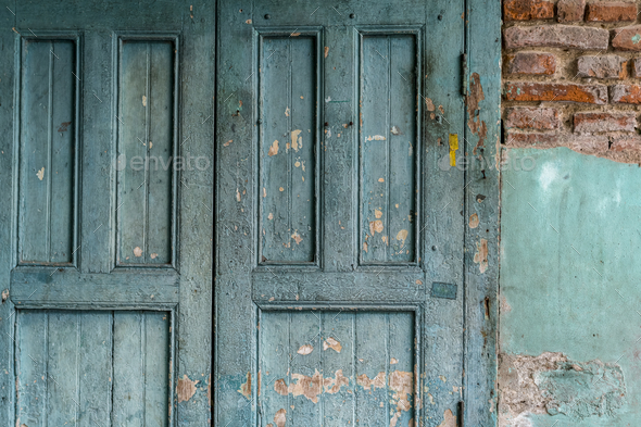 Weathered door on an old building - Stock Photo - Images