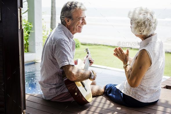 Senior couple enjoying their vacation - Stock Photo - Images