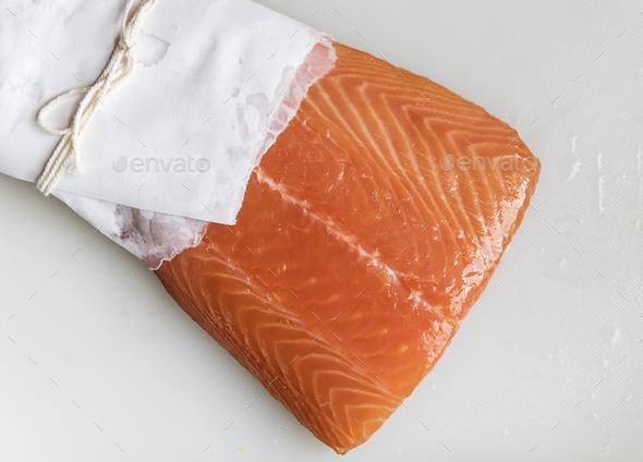 Fresh raw salmon food photography recipe idea - Stock Photo - Images