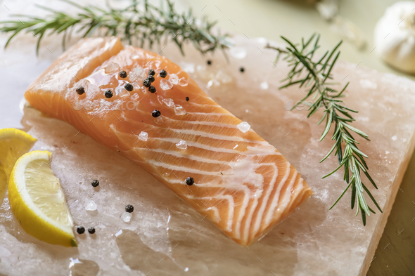 Fresh salmon with thyme food photography recipe idea - Stock Photo - Images