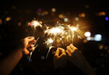 Celebrating with sparklers in the night - PhotoDune Item for Sale