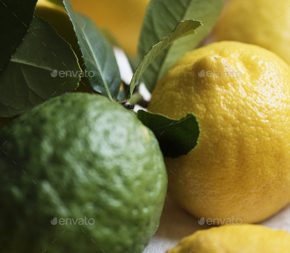 Fresh lemons and limes food photography - Stock Photo - Images
