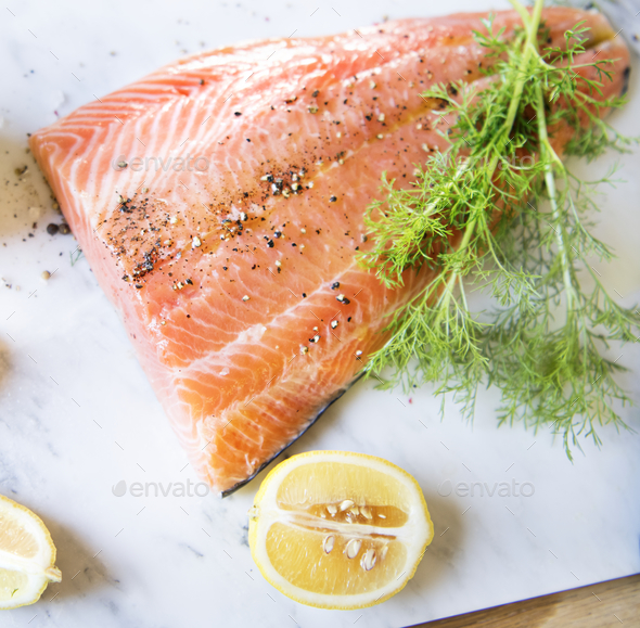 Fresh salmon with dill food photography recipe idea - Stock Photo - Images