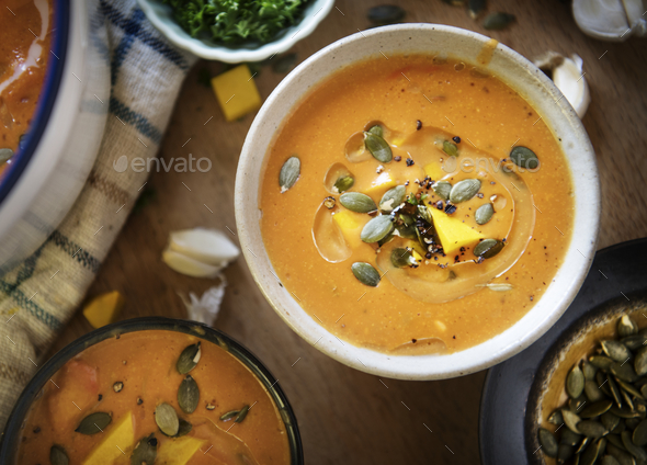 Pumpkin soup food photography recipe idea - Stock Photo - Images