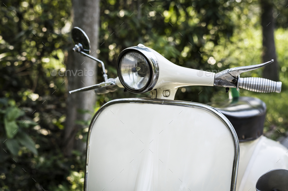 Closeup of a classic vintage scooter - Stock Photo - Images