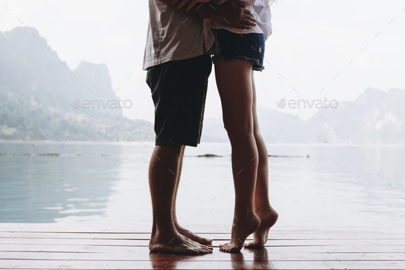 Traveling couple having a romantic moment - Stock Photo - Images