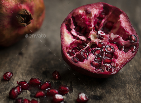 Fresh pomegranate food photography recipe idea - Stock Photo - Images