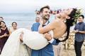 Cheerful newlyweds at beach wedding ceremony - PhotoDune Item for Sale